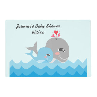 Cute Whale Boy Baby Shower Placemat