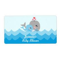 Cute Whale Boy Water Bottle Labels