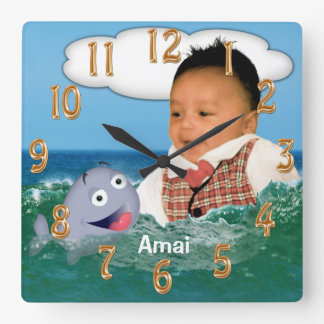 Cute Whale Clock with Your Cut Out Photo and Name