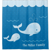 Cute Whale Family Blue Underwater Dots Shower Curtain