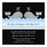 Cute Whale Gender Reveal Party 5.25x5.25 Square Paper Invitation Card