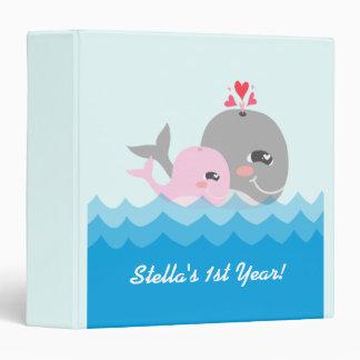 Cute Whale Girl Baby Shower Binders