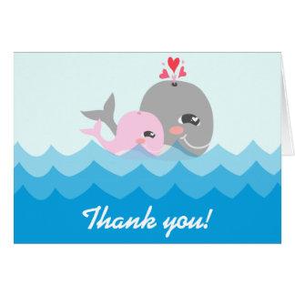 Cute Whale Girl Baby Shower Card