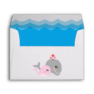Cute Whale Girl Baby Shower Envelope