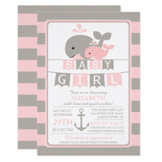 Cute whale Girl Baby Shower Invitation