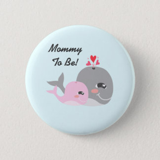 Cute Whale Girl Baby Shower Pinback Button