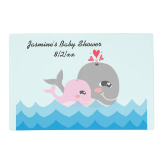 Cute Whale Girl Baby Shower Placemat