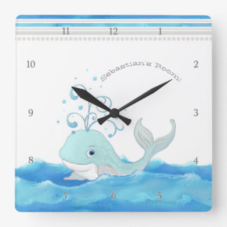Cute Whale in Ocean Cartoon Character Little Boy Square Wall Clock
