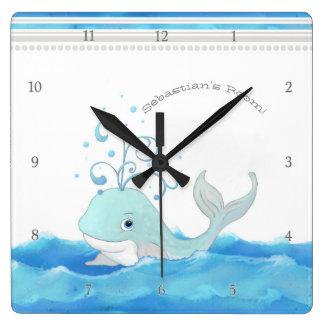 Cute Whale in Ocean Cartoon Character Little Boy Square Wall Clock