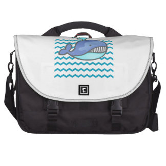 CUTE WHALE IN WATER COMMUTER BAGS
