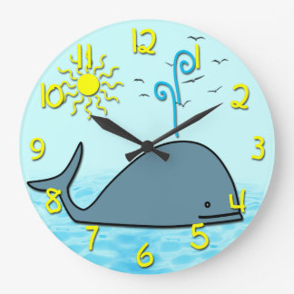 Cute Whale Kid's Round Wall Clock