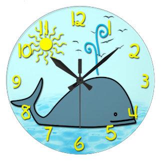 Cute Whale Kid's Round Wall Clock