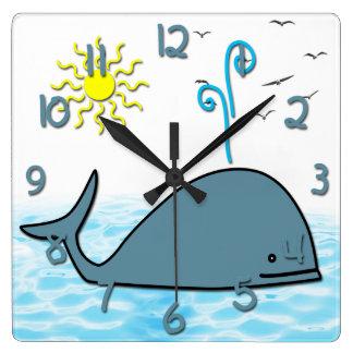 Cute Whale Kid's Square Wall Clock