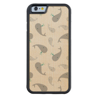 Cute Whale Mom and Baby Pattern Carved Maple iPhone 6 Bumper Case