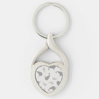 Cute Whale Mom and Baby Pattern Silver-Colored Heart-Shaped Metal Keychain