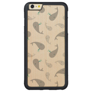 Cute Whale Mom and Baby Pattern Carved® Maple iPhone 6 Plus Bumper