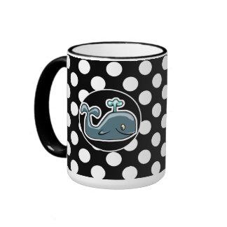 Cute Whale on Black and White Polka Dots Coffee Mug