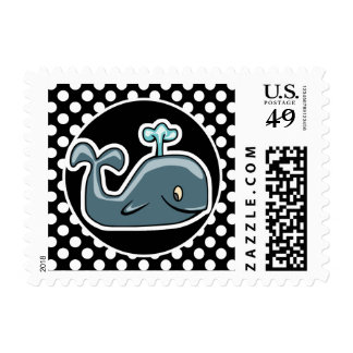 Cute Whale on Black and White Polka Dots Postage Stamp