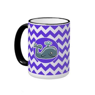 Cute Whale on Blue Violet Chevron Coffee Mugs