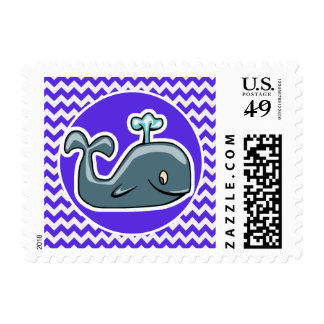Cute Whale on Blue Violet Chevron Stamp