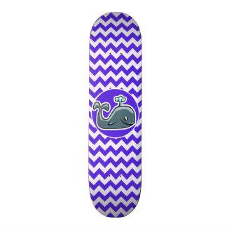 Cute Whale on Blue Violet Chevron Skateboard