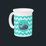 """Cute Whale on Turquoise, Aqua Color Chevron Beverage Pitcher<br><div class=""""desc"""">You will love this cute cartoon whale with  Turquoise,  Aqua Color Chevron pattern design!  We invite you to our store,  PetWorld,  to view this cool pattern on many more great customizable aquatic pet whales products,  including girly birthday cards,  modern kids invitations,  and trendy postcard kid&#39;s party invitations!</div>"""