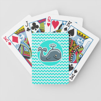 Cute Whale on Turquoise, Aqua Color Chevron Bicycle Playing Cards