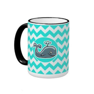 Cute Whale on Turquoise Aqua Color Chevron Coffee Mugs