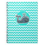 Cute Whale on Turquoise, Aqua Color Chevron Spiral Note Books