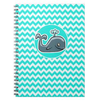 Cute Whale on Turquoise, Aqua Color Chevron Notebook