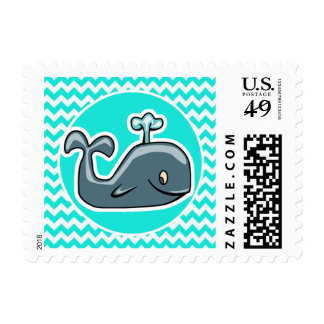 Cute Whale on Turquoise, Aqua Color Chevron Stamps