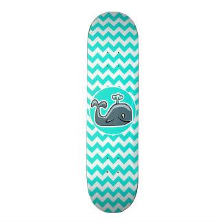 Cute Whale on Turquoise, Aqua Color Chevron Skateboard Deck