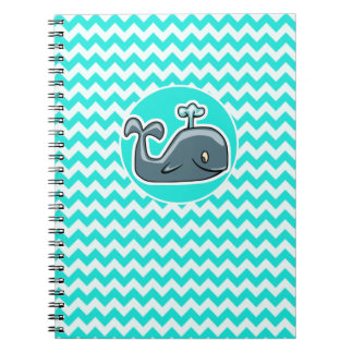 Cute Whale on Turquoise, Aqua Color Chevron Spiral Notebook