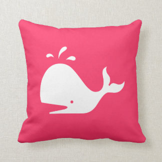 Cute Whale Pillow: Customizable Text & Color Throw Pillow