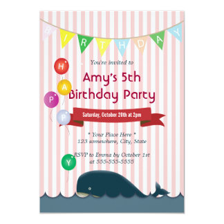 Cute Whale Pink Stripes Birthday Invitations