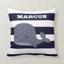 Cute Whale Sea Animal Nautical Ocean Nursery Decor Throw Pillow