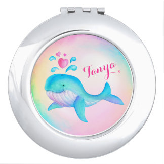 Cute whale spurting hearts art name mirror compact