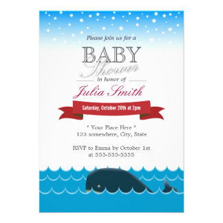Cute Whale Swimming Under Blue Sky Baby Shower Announcements