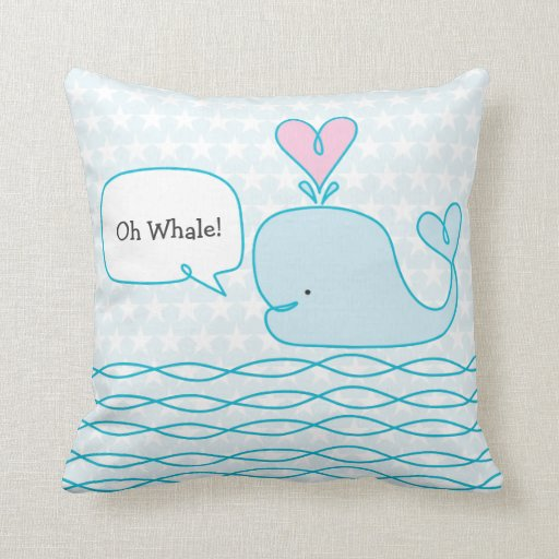 Cute Pillows With Sayings : Cute Whale Throw Pillow Zazzle