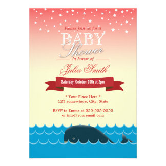 Cute Whale Under Pink Star Sky Baby Shower Cards