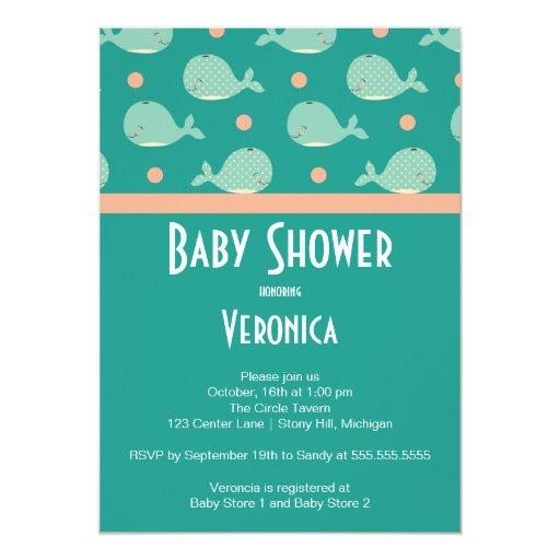 cute whale under the sea baby shower invitation zazzle