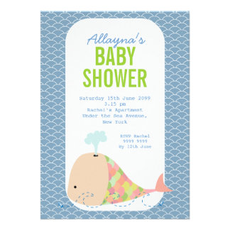Cute Whale Under the Sea Baby Shower Party Invite