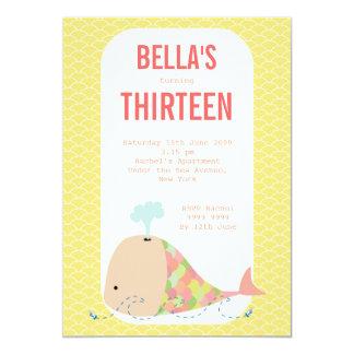 """Cute Whale Under the Sea Birthday Party Invite 5"""" X 7"""" Invitation Card"""
