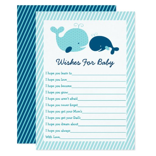 Cute Whale Wishes For Baby Card