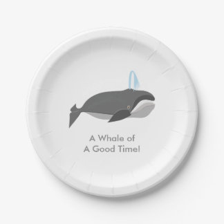 Cute Whale With Custom Text Paper Plate