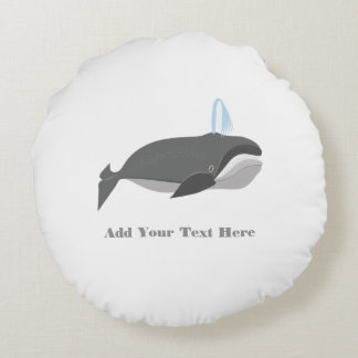 Cute Whale With Custom Text Round Pillow