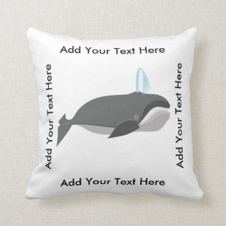 Cute Whale With Custom Text Throw Pillow