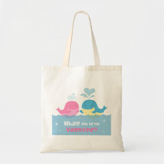 Cute Whale You Be Mine Valentine Love Pun Tote