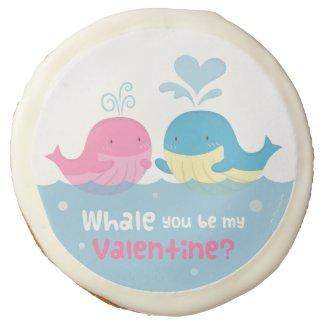 Cute Whale You Be Mine Valentine Love Sugar Cookie