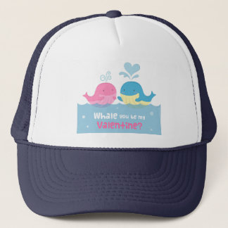Cute Whale You Be Mine Valentine Love Trucker Hat